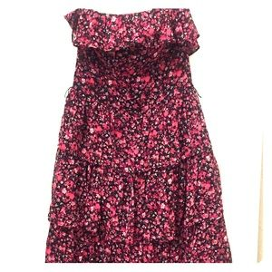 WHBM pink floral strapless dress